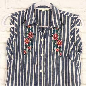 BLL Linen Striped Embroidered Floral Shirt Dress S